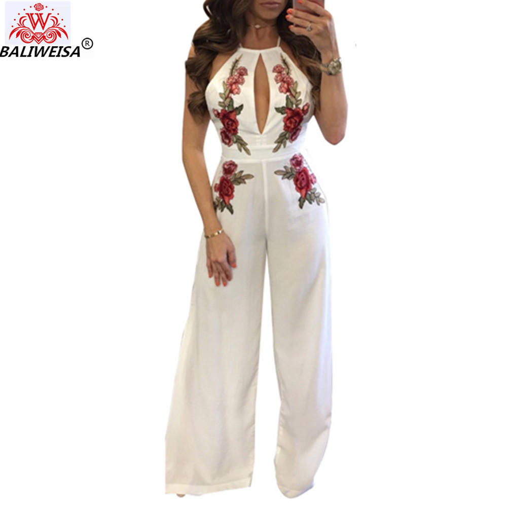 BALIWEISA Embroidery Flower Hollow Out White Jumpsuits Women Sexy Halter Rompers Summer Bech Backless Casual Ladies Jumpsuits