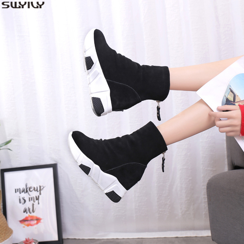 SWYIVY Wedge Shoes Women Sneakers Platform Causal Shoe Female  Ankle Boots Casual 2019 Winter Warm Sock Shoes Snow Boots Women