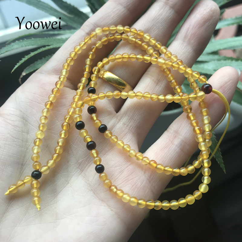 Yoowei 51cm 3g Baltic Natural Amber Necklace for Women 3mm Mini Round Beads diy Tiny Adjustable Genuine Amber Jewelry Wholesale oem diy 34 25cm 17 51cm 25 51cm 24 24cm