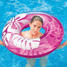 Hibiscus Swimming Circle Air Mattress adult Float Seat Boat Tube Ring Rubber Swim Summer Fun Toys Ring Portable(China)