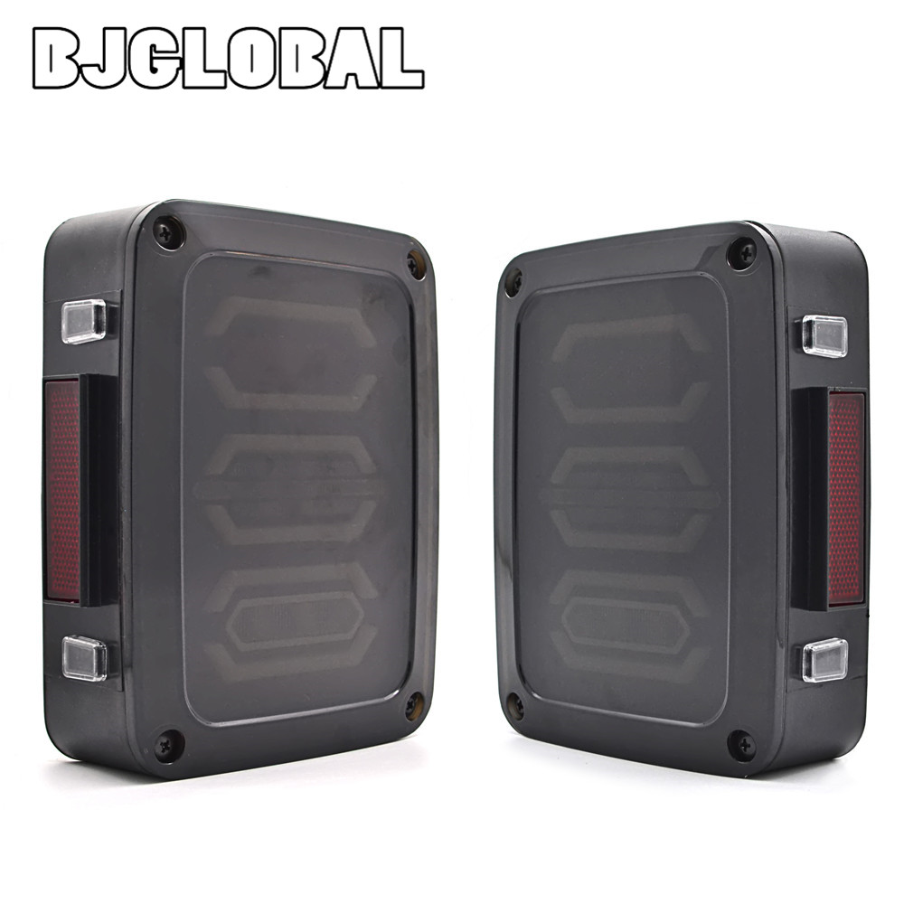 BJGLOBAL Car Taillight LED Tail Lights Brake Turning Reverse Light Model For Jeep JK Wrangler 2007-2016 Europe/US Type for jeep wrangler jk 2007 2016 tail light diamond smoke led tail light