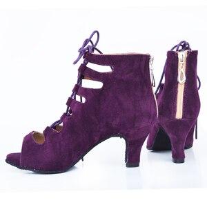 Image 5 - 女性社交ラテンダンスシューズ赤、黒サルサタンゴタンゴシューズバチャータシューズkizomba社会靴ハイヒール 6/7。5/8。5/10 センチメートルスエード唯一
