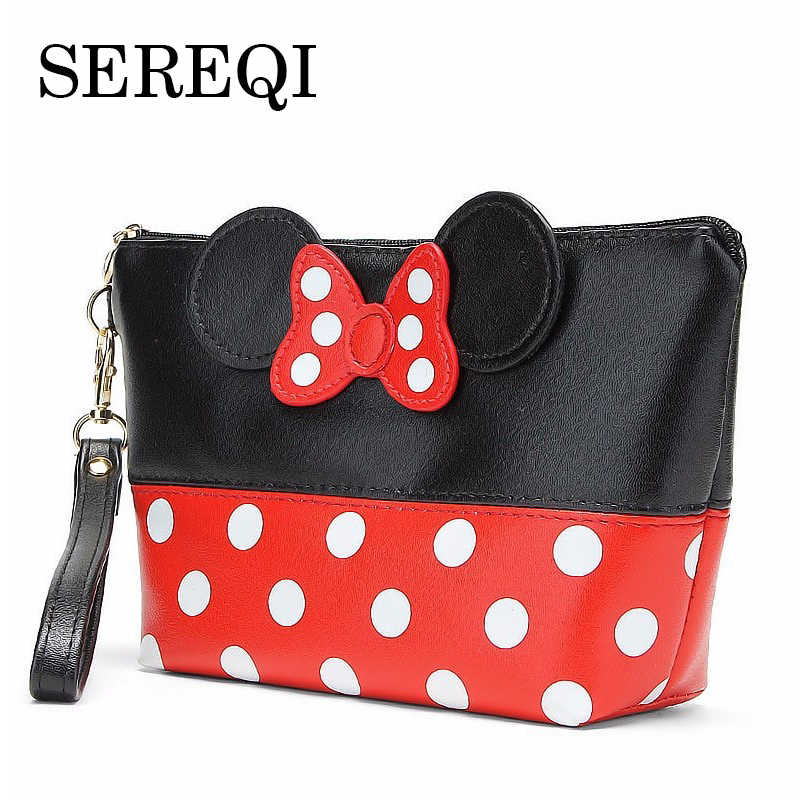 SEREQI Mickey Bow Dot PU Travel Organizer Cosmetic Bag Fashion Makeup Bag Wash Toiletry Bag Quality Bag Organizer Beauty Case