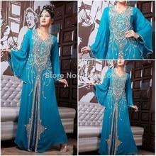 Rhinestone Gowns 2015 Elegant Crystal Beaded A Line Scoop Dubai Muslim Kaftan Royal Blue Evening Dresses Chiffon Islamic Dresses