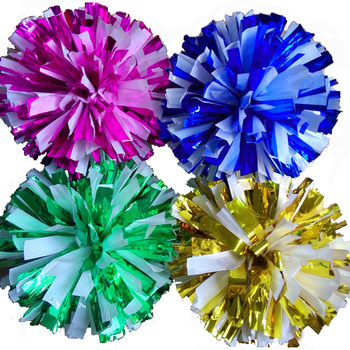 Metal color mix white Game pompoms (20pieces/lot) Cheerleading pompon The Handle can choose The Color can free combination