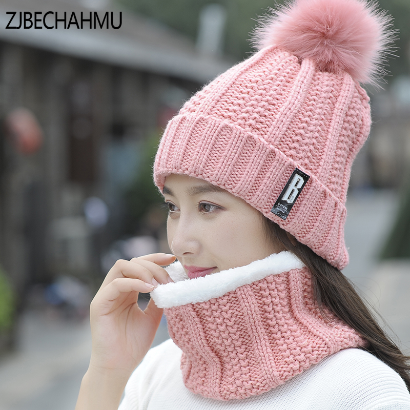 2017 New Pom Poms Winter Hat for Women Fashion Solid Warm Hats Scarf Knitted Beanies Cap Brand Thick Female Cap
