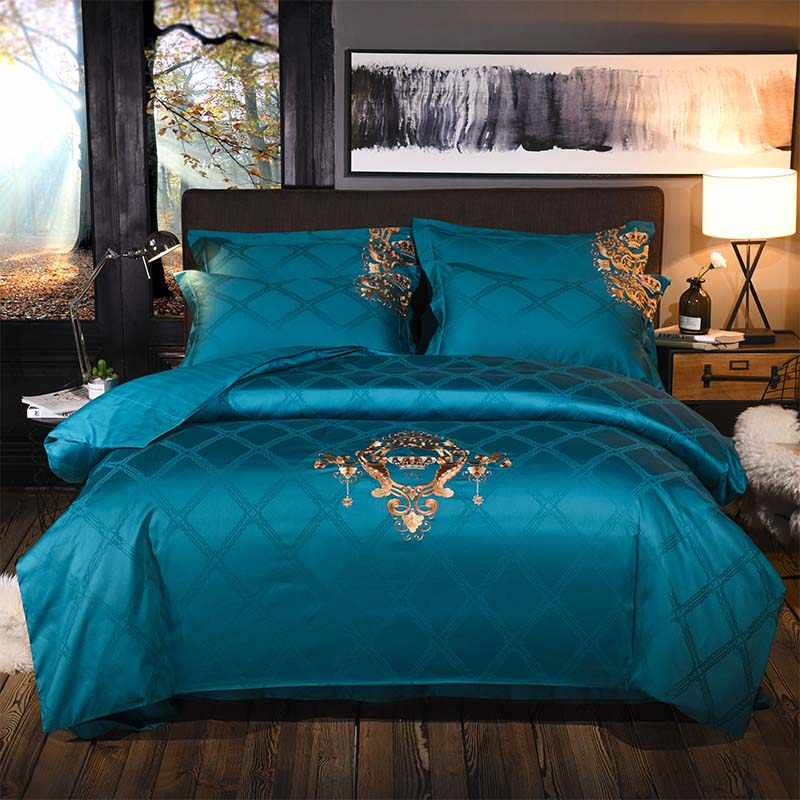 Europe luxury Embroidery Bedding Sets 100% Egypt Cotton Bedclothes Duvet/Quilt Cover Bed Linen Sheet wedding Set Queen King Size