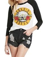2016 New Fashion Women S Long Sleeve Rock Band Guns N Roses Print T Shirt Custom
