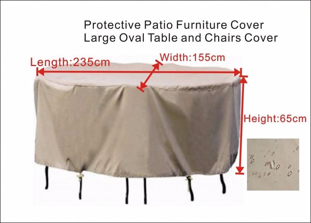 안뜰 가구 덮개, 물 증거 235x155x65 cm, 큰 타원형 테이블 및 의자 덮개를위한 보호 덮개. 베이지 색 모래 까만 덮개