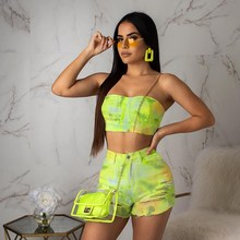 Sexy Tie Dye Print Two Piece Set Short Tracksuit Women Off Shoulder Backless Crop Top And Hole Biker Shorts Neon Outfit цена