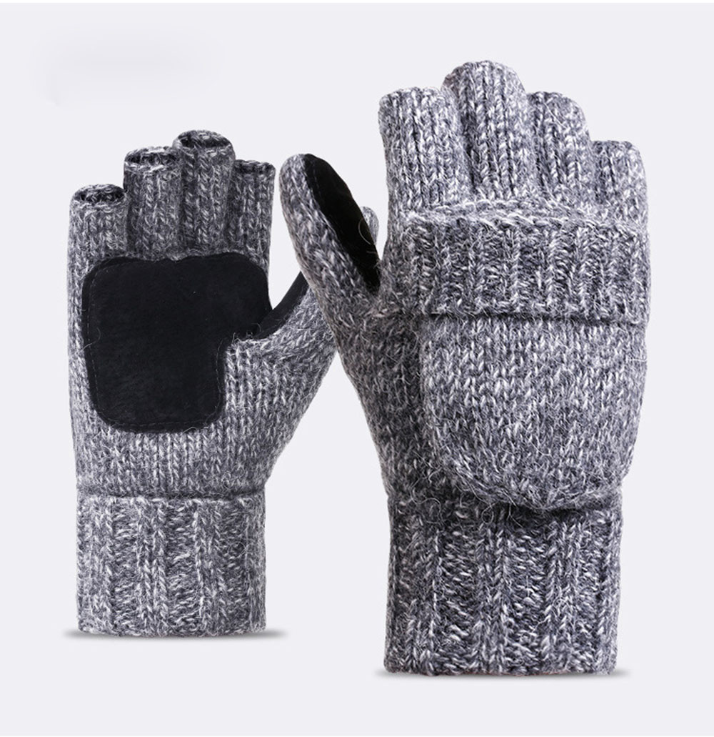 Winter Half Finger Gloves Women Men Warm Stretch Knit Mittens Imitation Wool Full Finger Guantes Female Crochet Thicken