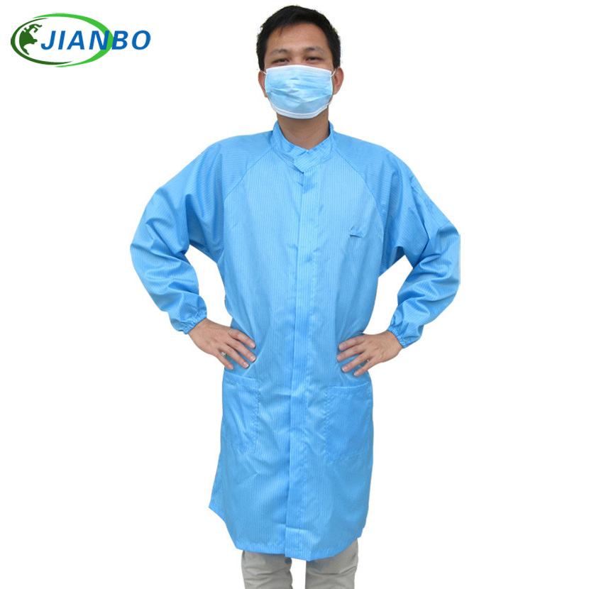 Anti-static coat white collar, blue long-sleeved polyester + conductive thread zipper clothes Обои