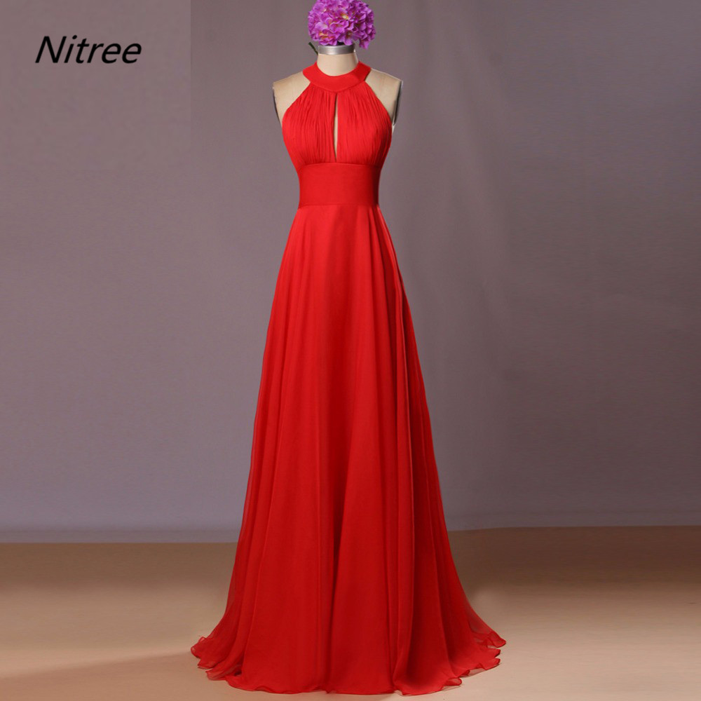 Halte Neck Bright Red A Line Chiffon Long Formal Evening   Dresses   Open Back Real Photos Sleeveless Summer   Prom     Dresses   Gowns