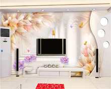 beibehang Modern advanced decorative painting wall paper fantasy lilies purple lotus 3D stereoscopic TV background 3d wallpaper