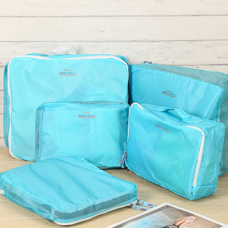 IUX 5 stk / sæt Fashion Double Lynlås Vandtæt Polyester Mænd og Kvinder Bagage Rejse Tasker Pakning Cubes Organizer Engros
