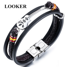 LOOKER 2019 Unique Guitar PU Leather Man Wrap Bracelets Fashion Punk Stainless Steel Watch Shape Male Charm Rope Cuff Bangles