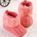 Meninas do bebê inverno botas plush fur botas de inverno bebe de menina de linho vermelha sólida bottes d'hiver