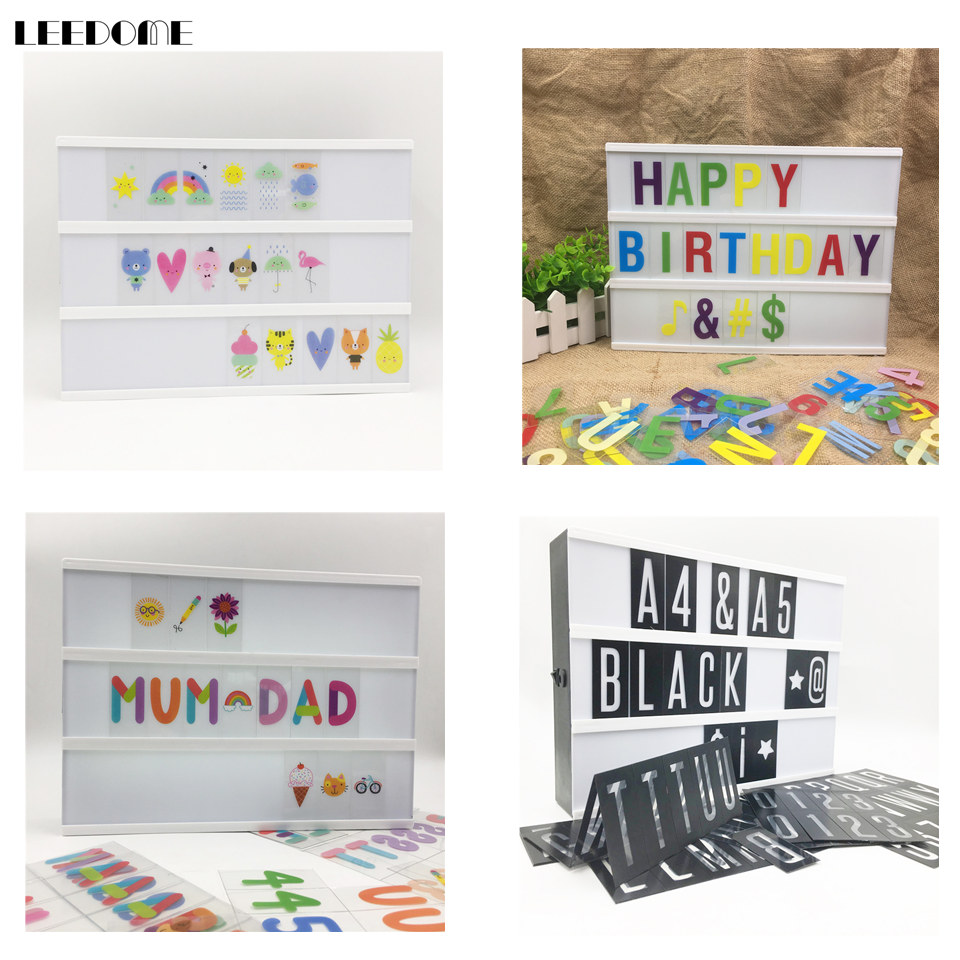 Dropship A4 Size Colourful Letters Numbers Symbols For A4 Or 2 Lines A5 Cinematic Lightbox Combination Children Diy Light Box