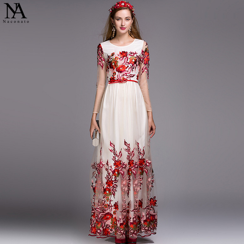 New Arrival 2018 Spring Ladies O Neck Long Sleeves Embroidery Layered Sexy Tulle Laid Over Elegant Maxi Runway Dresses