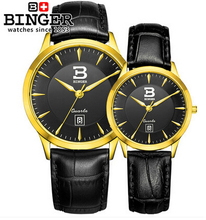 Binger Men s Women s Lover Couple Watches Faux Leather Oversize Round Dial Quartz WristWatches Black