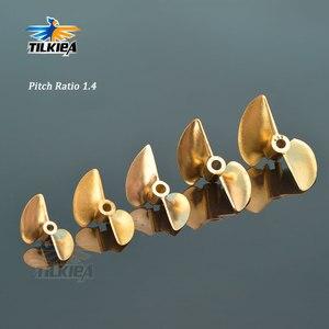 Image 1 - RC D30/32/35/38/44/48/50/52mm Boot Prop 3,18mm/4mm/4,76mm PositiveScrew 2 klingen Kupfer Propeller Links Für RC Boot