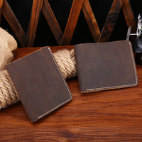 New Men Vintage Cow Leather Wallet Hand Made Genuine Leather Purse Causal Simple Fashion Brown Style