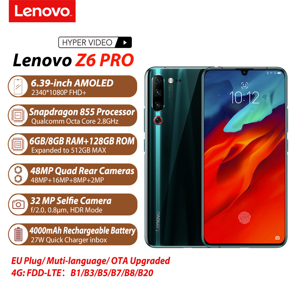 Global Version Lenovo Z6 Pro 6GB / 8GB + 128GB 4000mAh Snapdragon 855 Mobile Phone 6.39''