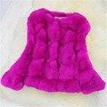 Las mujeres Más Tamaño Chaquetas De Piel 2016 Otoño Invierno 10 Colores M ~ XXL Bolsillos O-cuello delgado 7 Puntos de La Manga de Piel de Conejo Outwear LW414