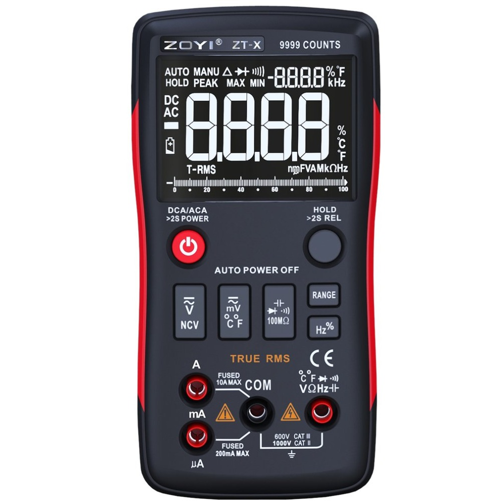 ZT-X True-RMS Digital Multimeter Auto Range True RMS AC/DC Volt Amp Ohm Capacitance Duty Cycle NCV Diode Temperature Tester 9999 true rms multimeter ac