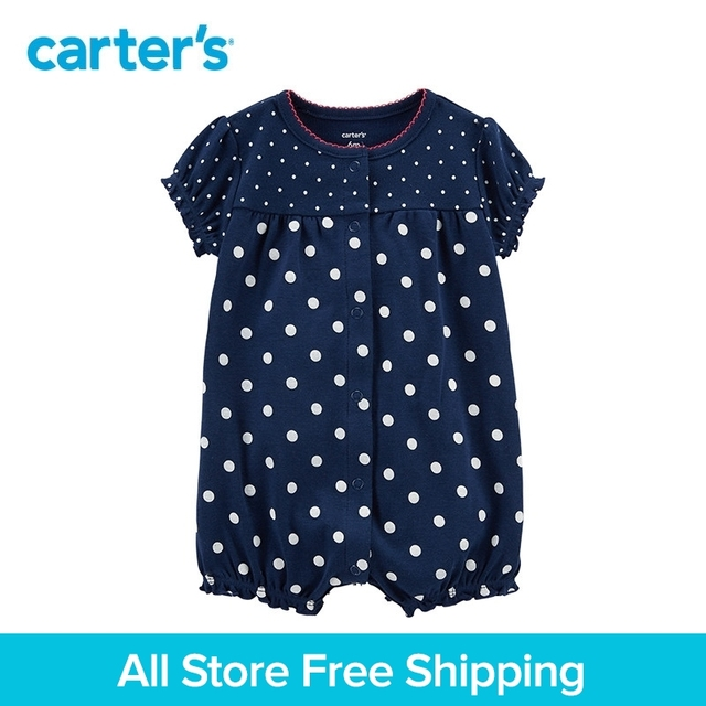 cff9826df 1pcs sweet polka dots and strawberry Snap Up Cotton Romper Carter s ...