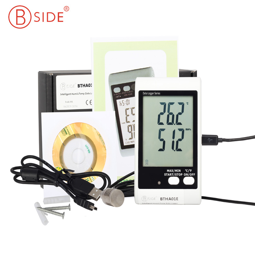 BSIDE BTHA01E Temperature Humidity Data Logger With Large Screen Display And Sound Light Alarm free shipping and low temperature alarm 634f 220v electron temperature alarm sound and light alarm thermostats