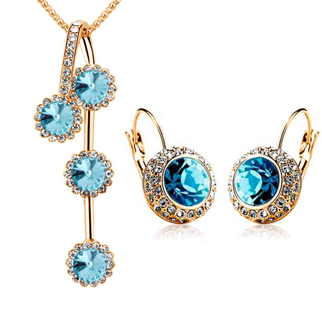 Rhinestone Silver/Gold Plated Round Crystal Necklace And Earrings Set