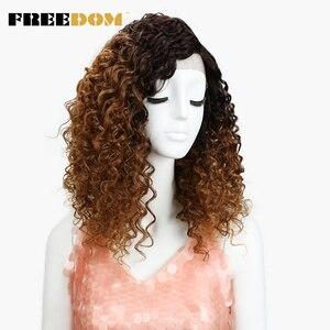 Image 2 - Vrijheid Afro Kinky Krullend Pruiken Voor Zwarte Vrouwen Hittebestendige Lace Front Pruiken Ombre Bruin Caramel Kleur Hoge Temperatuur