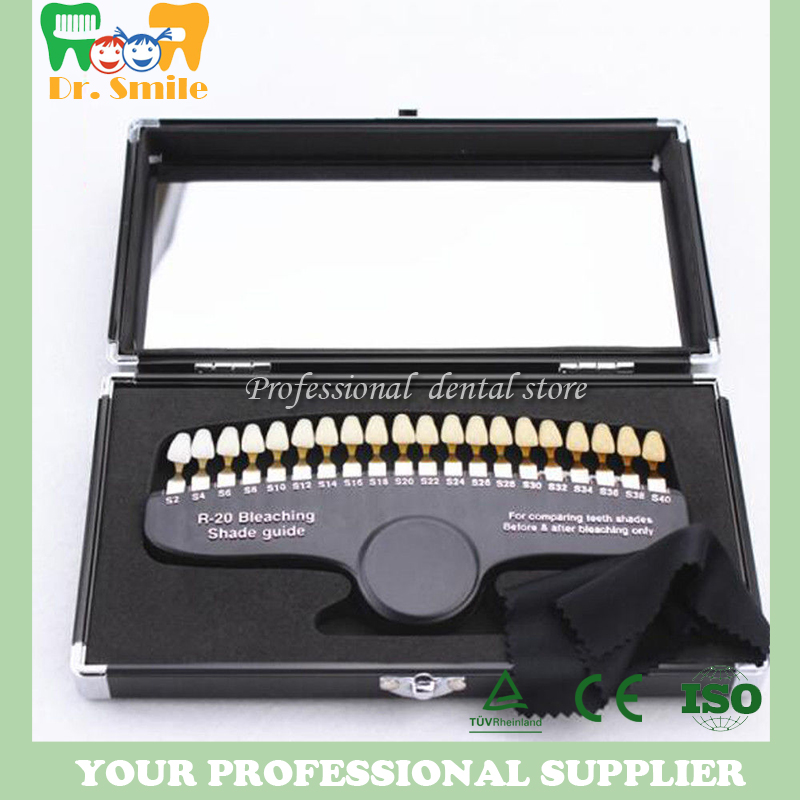 Comparateur de couleur de guide d'ombre 3D de blanchiment dentaire d'emballage de luxe de 20 couleurs avec l'accélérateur de blanchiment des dents de miroir