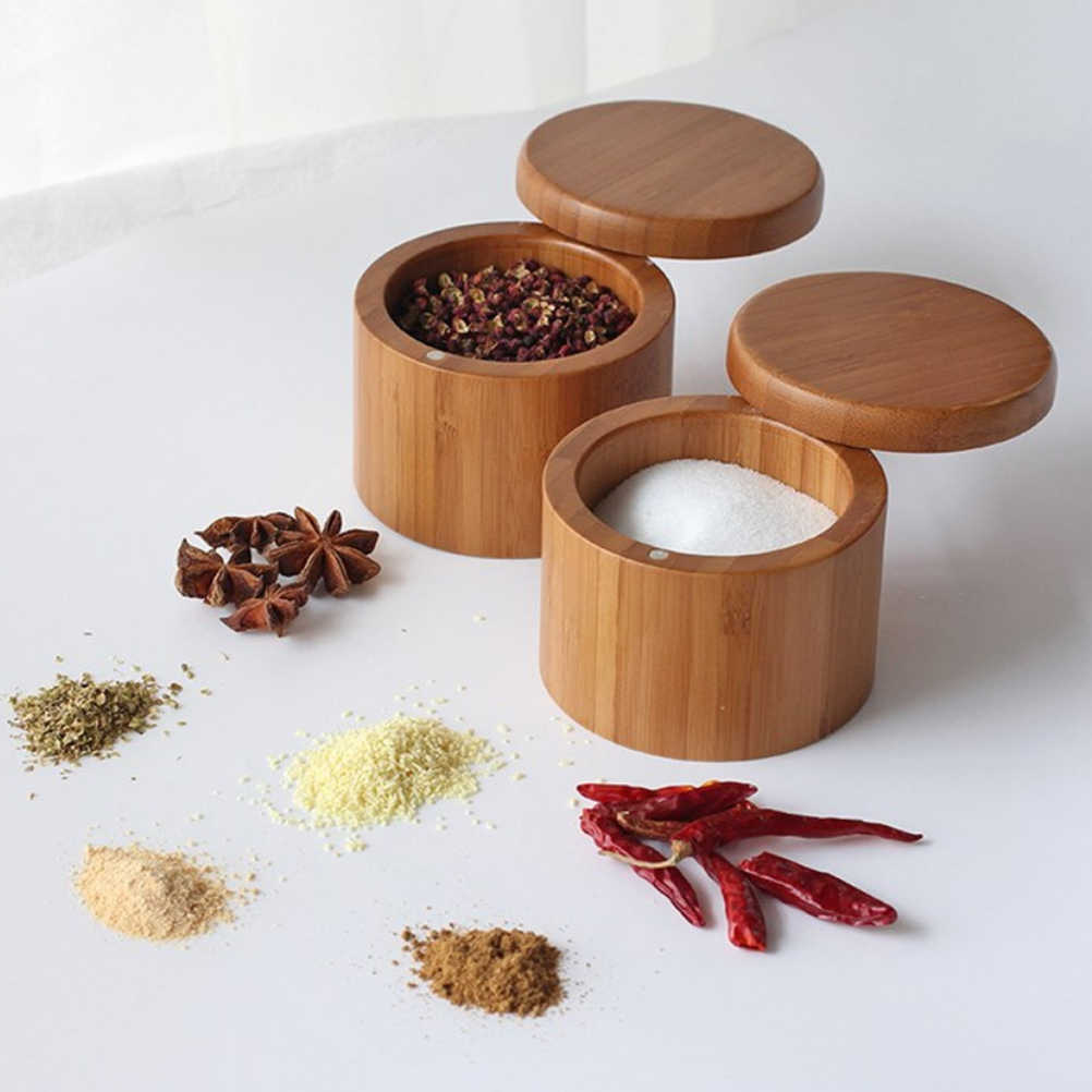 Wooden Spice Shaker Jar Sugar Salt Pepper Herbs Toothpick Storage Bottle Seasoning Pot Spice Jar with Spoon for Kitchen Home