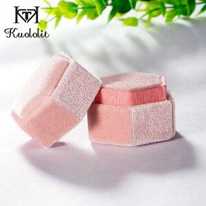 Kuololit الوردي المخملية مسدس خاتم مربع للنساء خاتم يدوي الصنع علب للمجوهرات ل الزفاف الخطوبة الزفاف هدية التعبئة والتغليف عرض