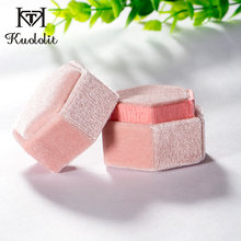 Kuololit Pink Velvet Hexagon Ring box for Women Handmade Ring Jewelry Boxes for Wedding Engagement Bridal Gift Packaging Display(China)