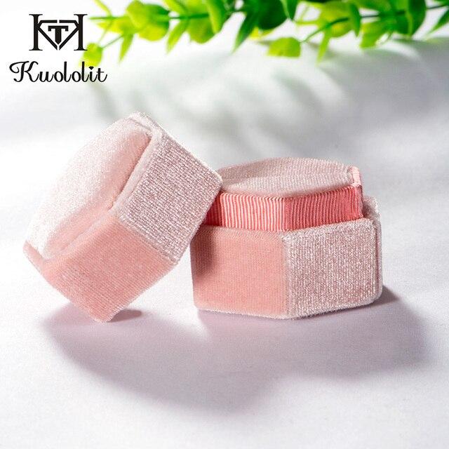 Kuololit Pink Velvet Hexagon Ring box 1