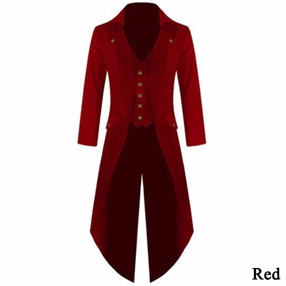 2017 Men's Coat Steampunk Retro Tailcoat Jacket Long Sleeve Single Breasted Gothic Coat Men's Uniform Plus Size 4XL#257805