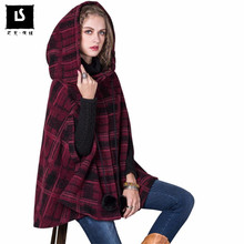High Quality Women's Winter New Vintage Plaid Warm Woolen Hoodie Cloak Coat Loose oversized Drop-Shoulder Sleeve Wool Outerwear(China)