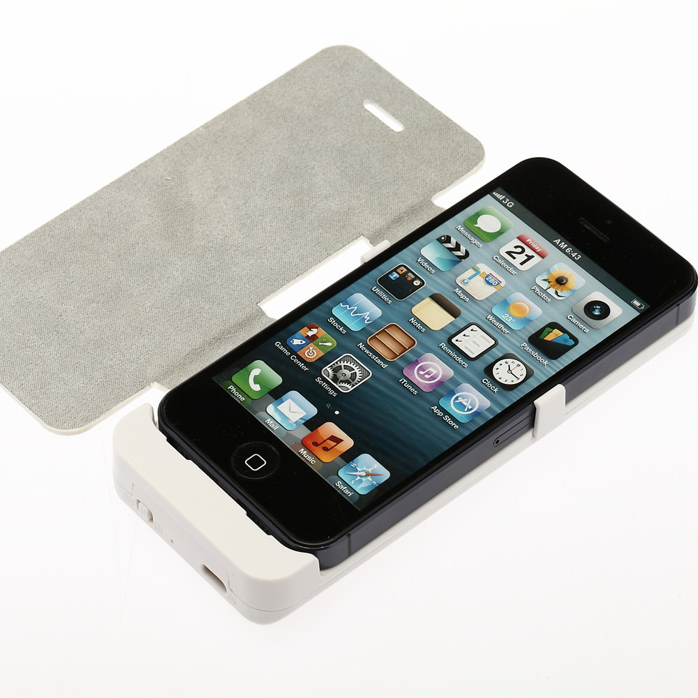 2800mAh External Backup Battery Charger Case PU Leather Flip Cover Capa for iPhone 5 5S Powerbank