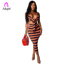 2 Piece Set Women Long Vertical Stripe Mid Calf Sheer Dress Sexy Casual Bandage Off Shoulder Night Club Party Dress Plus Size plus size stripe faux twinset dress