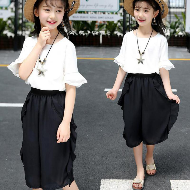 2018 New Kids Girls Clothes Set Toddler Clothing Set Summer Boutique Girls Outfits Chiffon White Blouses Shirts + Wide Leg Pants factory wholesale price new design toddler boy clothing set summer fish embroidery boutique shorts baby remake outfits set