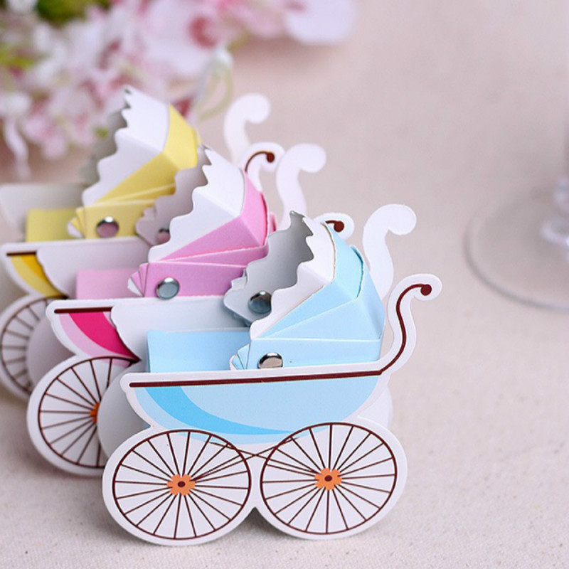 12pcs Baby Carriage Candy Box Birthday Boy Baby Shower Favors Baby Shower Souvenirs Kids Party Decoration Birthday Gifts