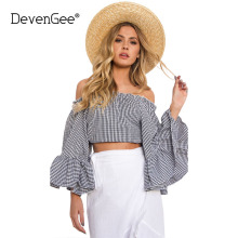 DevenGee Korean Fashion Clothing Women Crop Top Sexy Off Shoulder Flare Sleeve Plaid Print Ladies Summer Blouse Shirt Blusas