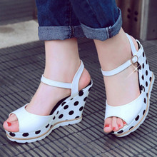 Womens Summer Casual Wedge Sandals Shoes Elevated Wedge Peep Toe Street Shoes White Black Blue Platform Sandals Size 33 - 41 white peep toe buckles wedge sandals