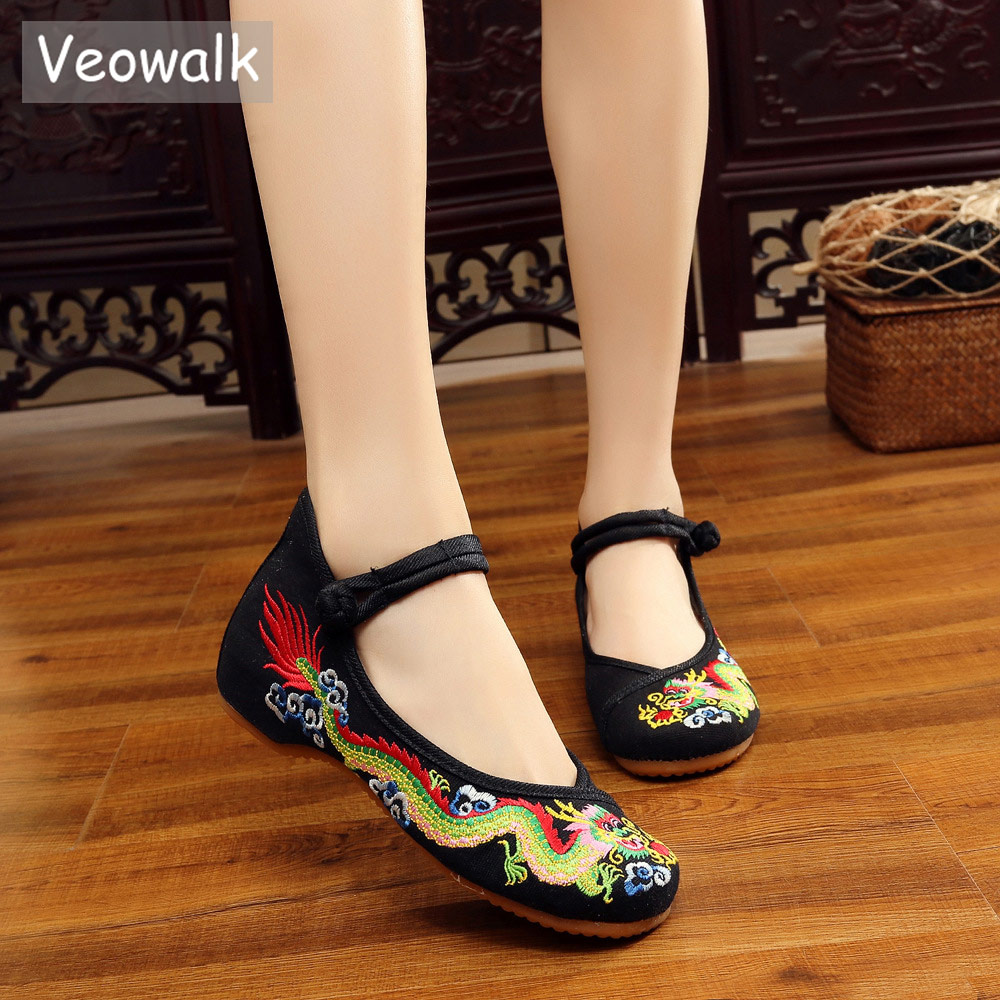 Veowalk Handmade Cotton Ballet Flats Chinese Dragon Embroidery Women's Old Beijing Shoes Casual Brea