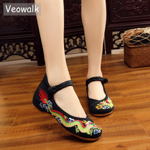 Veowalk artesanal feminino algodão ballet flats dragão chinês bordado senhoras velho pequim sapatos casuais respirável sapatos de condução