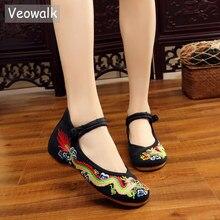 Veowalk手作り女性綿バレエ中国のドラゴン刺繍女性オールド北京の靴カジュアル通気性運転の靴