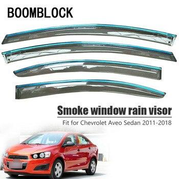 BOOMBLOCK 4pcs Car Covers Window Visor Sun Rain Wind Deflector Awning Shield ABS For Chevrolet Aveo Sedan 2011-2017 2018